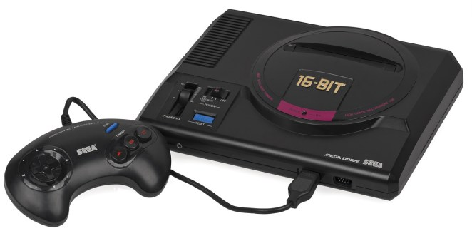 Photo of a Sega game console with controller