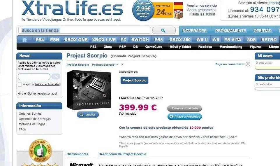 Un sito spagnolo potrebbe aver rivelato il prezzo di Project Scorpio
