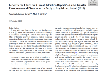 New publication: Game Transfer Phenomena and dissociation