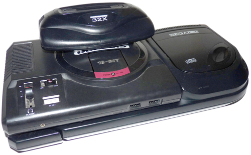 sega genesis model 1 and sega cd model 2 with 32x attached front angle gametrog