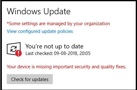 Windows 10 not updated