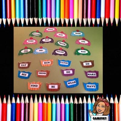 Verbos irregulares inglés con forma de cupcakes