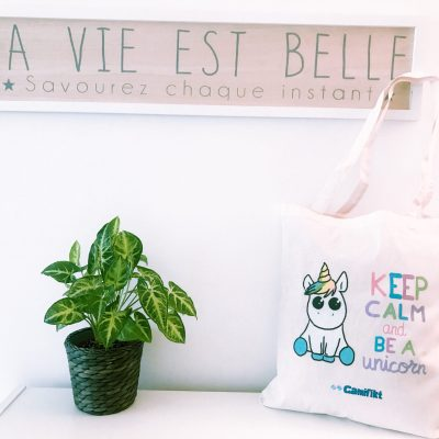 "Tote bag con diseño: ""Keep calm and be a unicorn"""
