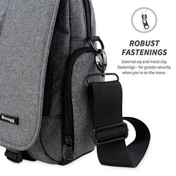 Laptoptasche, Snugg - Graue Notebooktasche - Umhängetasche für Laptops mit einer Bildschirmdiagonale von bis zu 17 Zoll - 5