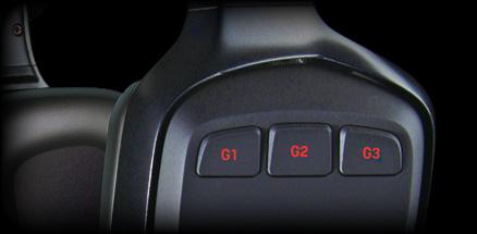 Close up of G35 earpiece programmable G-keys