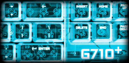 X-ray view of G710 plus section close up mechanical keys