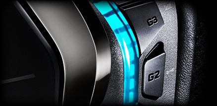 Close up of G633 earpiece, RGB programmable button