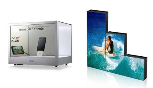 Links der transparente Display, rechts die quadratischen, ebenfalls neuen Bildschirme. Beides von Samsung, beides cool. (Foto: Samsung)