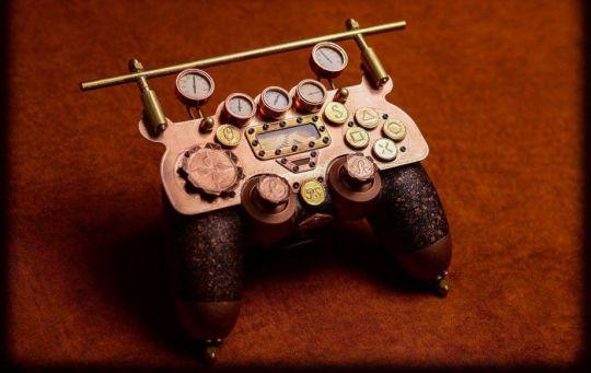 PS4-Controller im Steampunk-Look. (Foto: Dr. Leslie Aromo)
