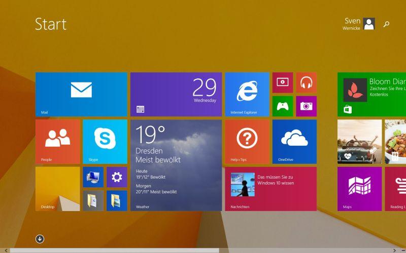 Der Standard-Windows-Bildschirm. Hier bereits mit der deutschen Sprache, die nachträglich installiert wurde. (Foto: Sven Wernicke)