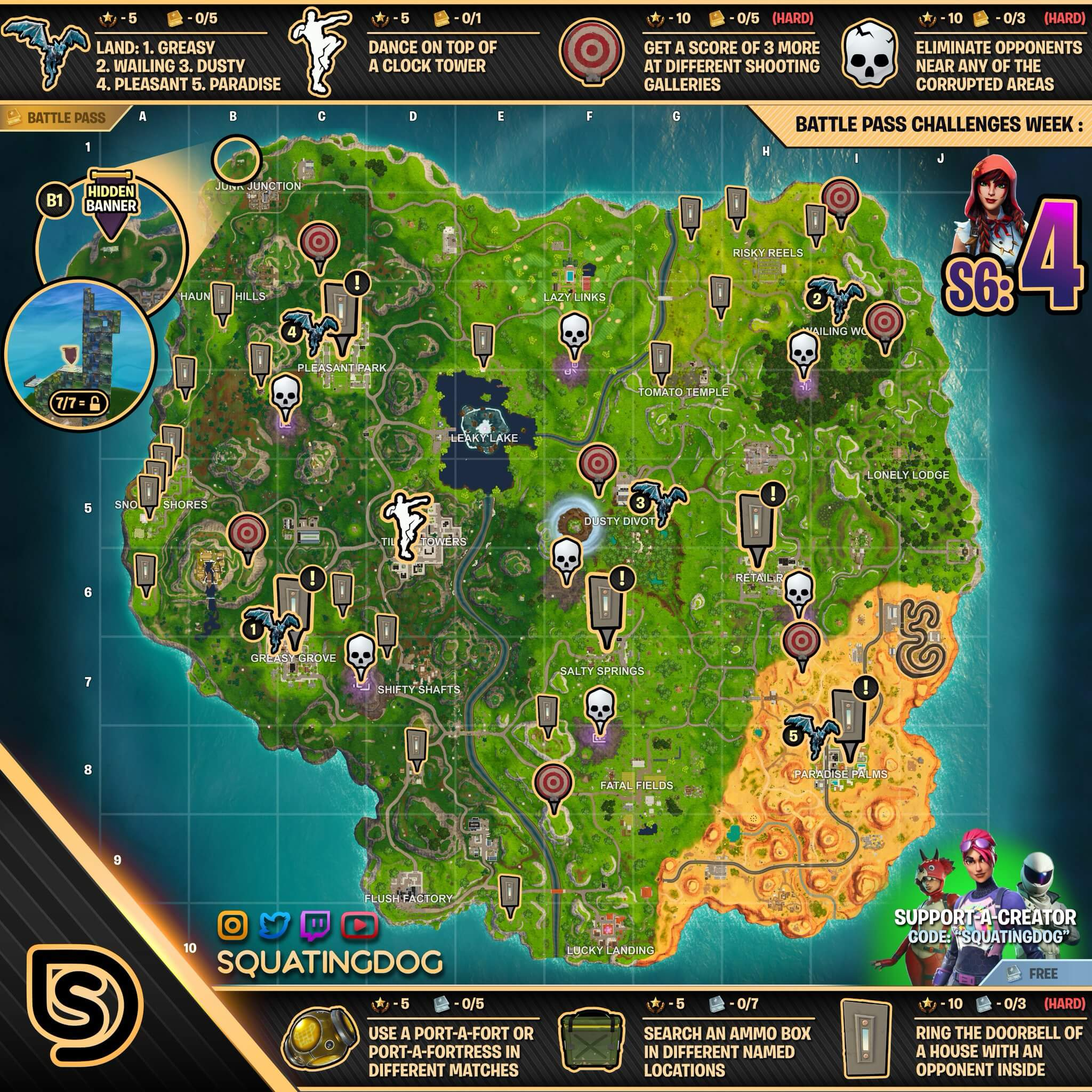 Fortnite Season 6 Week 4 Challenges Guide Cheat Sheet Gaming Lyf