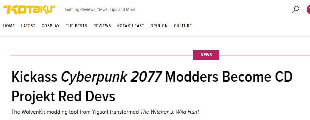 Cyberpunk Artikel auf Kotaku