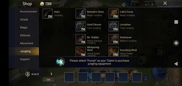 Equip Punish when Jungling Arena of Valor