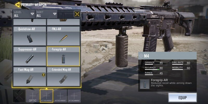 attachments for guns in Call of Duty Mobile