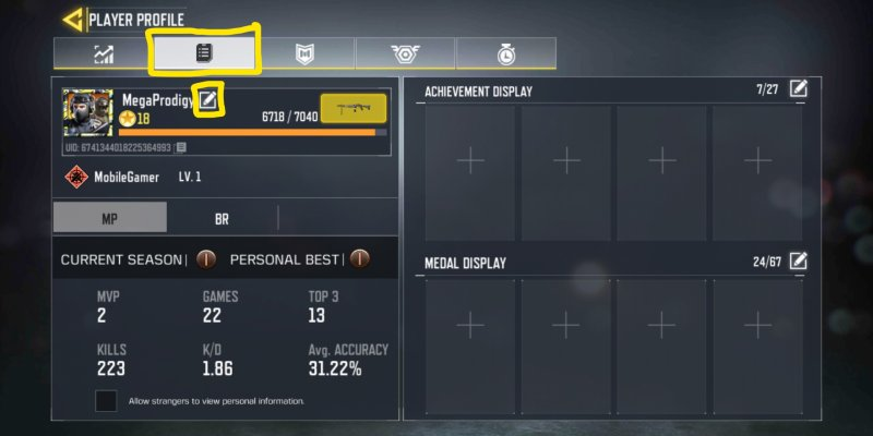 how to change name in Call of Duty Mobile
