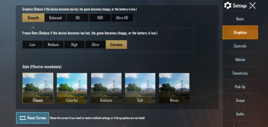 pubg mobile graphics settings