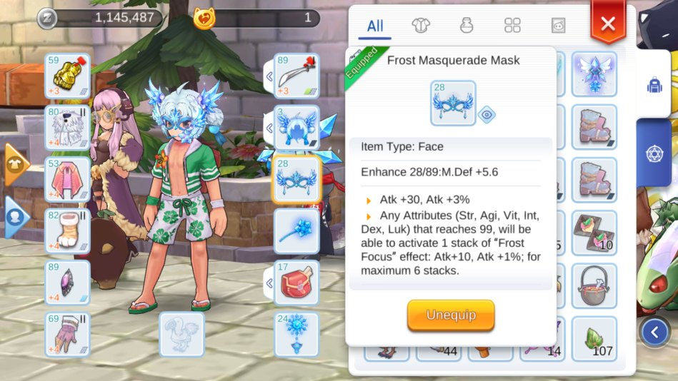 The Mask Attributes Adds Atk 30 3 And It Has An Additional Skill Of Frost Focus