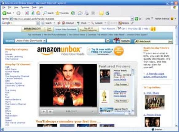 Amazon Unbox ermöglichte erstmal den Online Kauf von Filmen und Serien.