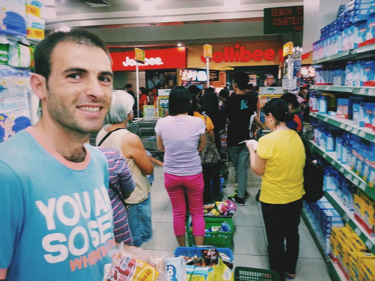 Long queue in supermarket.