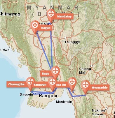 The route. Travel Myanmar in a low budget
