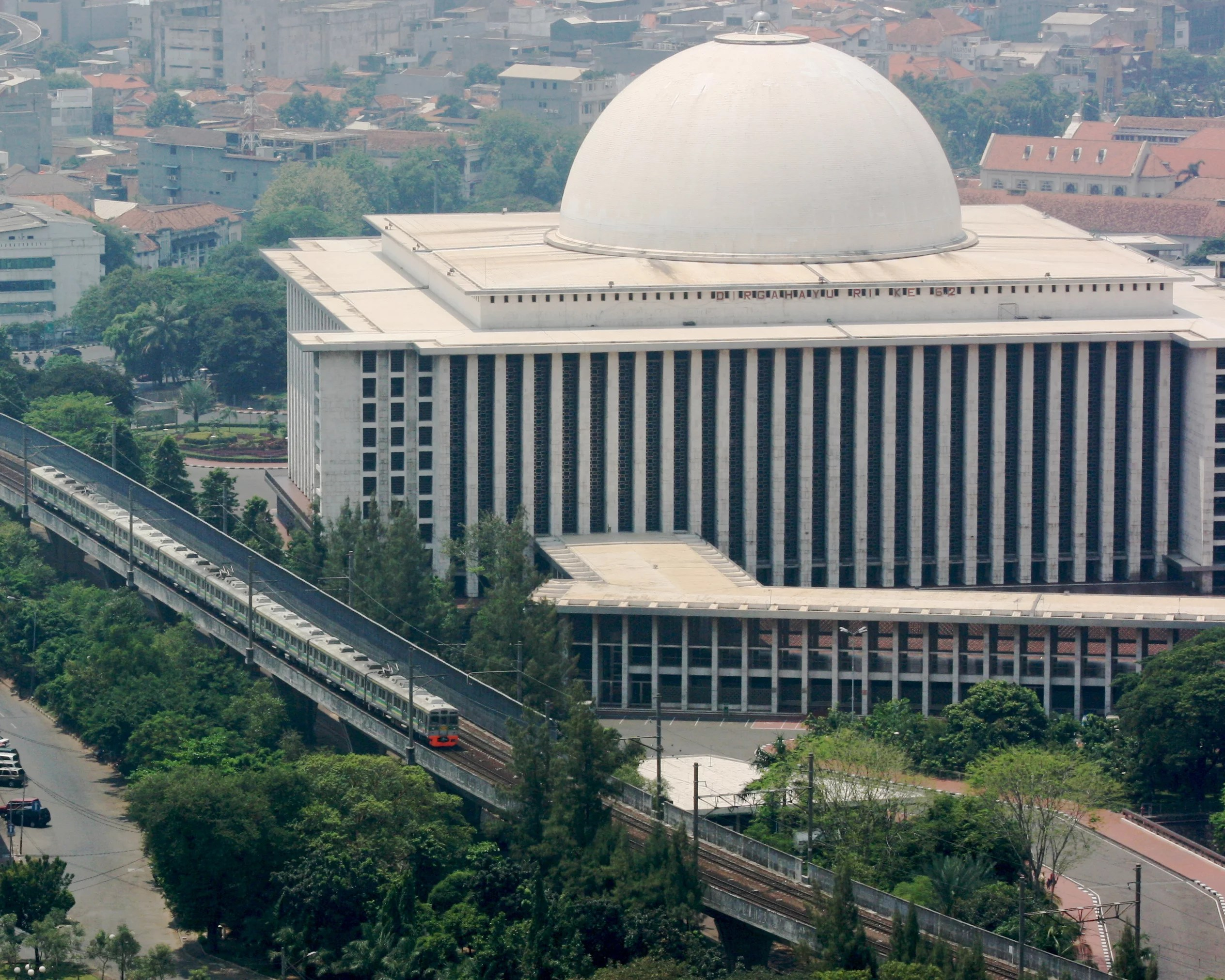 Train and Istiqlal Mosque, a really great place to see in Jakarta.