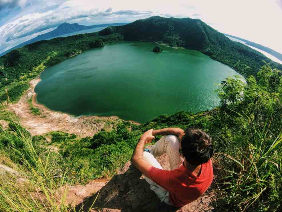 Red Lava view after hiking Taal Volcano, visit in manila for couple, places to visit near manila
