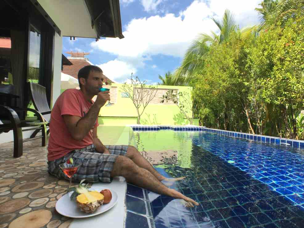 Enjoying our private villa in a luxury vacation in Thailand