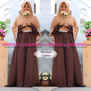 Gamis Michan Hijab Balotelli Coklat