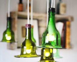 Lampa av vinflaska | Mörkare grön