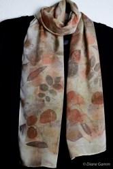 Eucalyptus and rose on silk