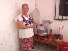 Angelica with tamale steamer used for eco printing