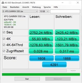 Testergebnisse des AS SSD Tool: 2752,24 MB/s Lesegeschwindigkeit und 2425,42 MB/s Schreibgeschwindigkeit bleiben ca. 20% unter der maximal erreichbaren Leistung was immernoch sehr gut ist!