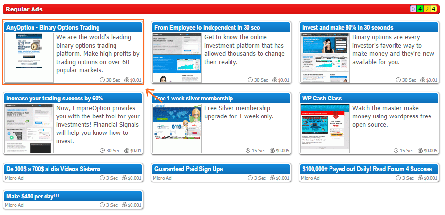 Click en anuncios normales de Clixsense