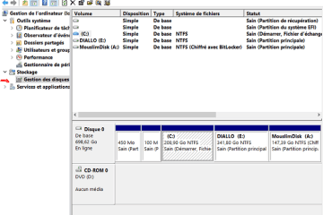 Gestion du disque - Partition Windows 10