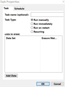 Task Properties, Choisir la méthode d'effacement