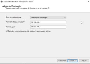 Ajouter l'IP de l'imprimante