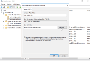 Complétez l'adresse IP de l'enregistrements PTR windows server