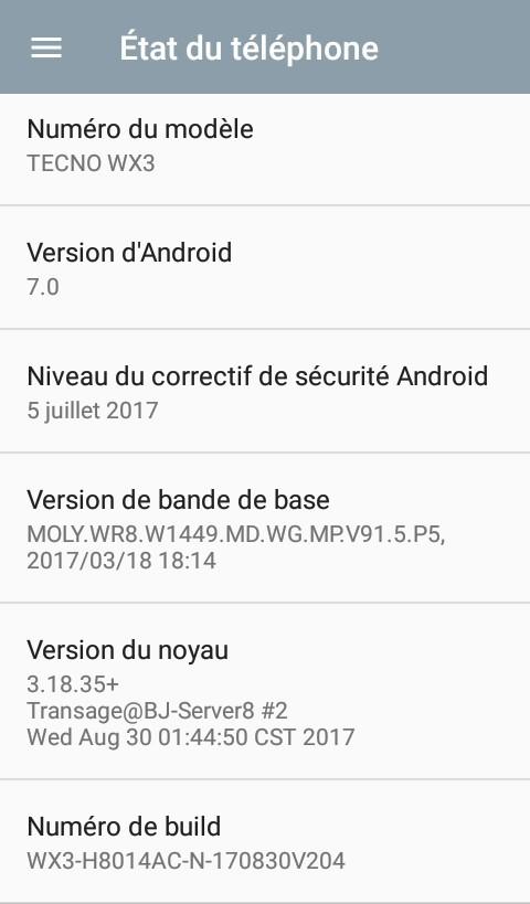 Options développeurs Android - Numéro du Build