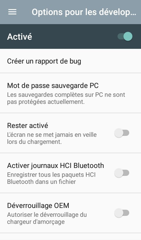 Options développeurs Android