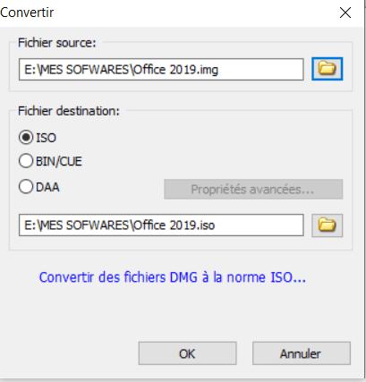 Choix du fichiers PowerISO Windows 10