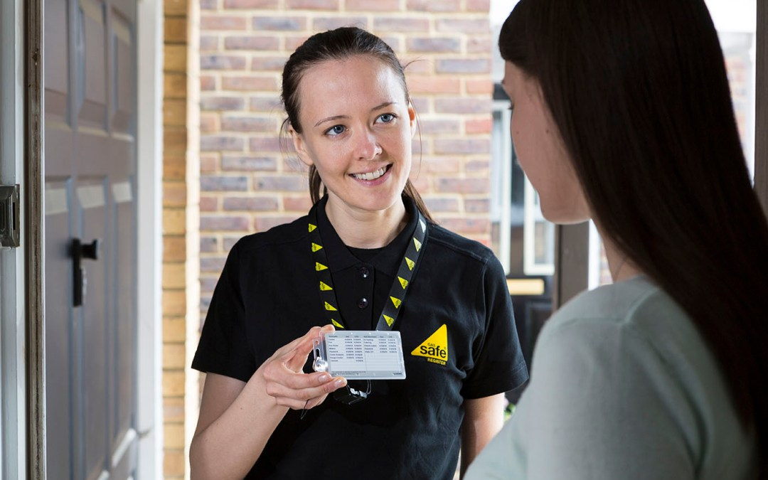 Gas Safe Engineer Showing Gas Safe ID Card