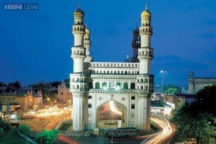 The tall, stately, grandeur Indo-Islamic architecture structure of four minarets - Charminar