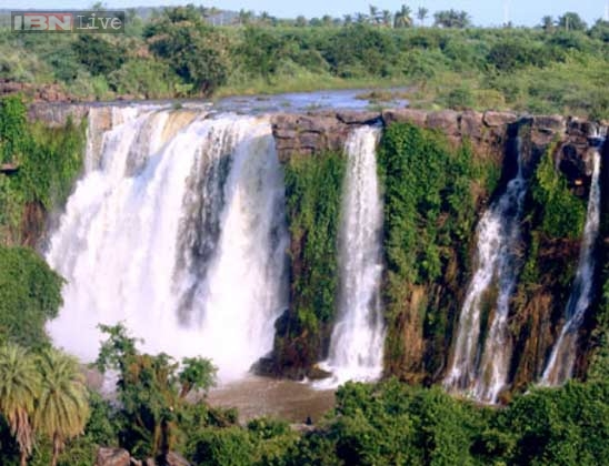 Ethipothala Falls is a 70 feet (21 m) high river cascade, situated on the Chandravanka river, a tributary of the River Krishna