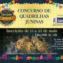 Estão abertas as inscrições para participantes de concursos juninos e vendedores ambulantes no São João de Gandu