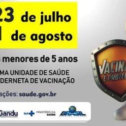 Gandu: Secretaria da Saúde inicia campanha de vacinação contra a Pólio e o Sarampo.
