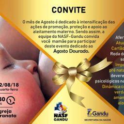 """NASF Gandu promove o """"Agosto Dourado"""", campanha voltada ao aleitamento materno."""