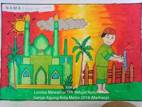 Contoh Gambar Hasil Mewarnai Masjid Kataucap