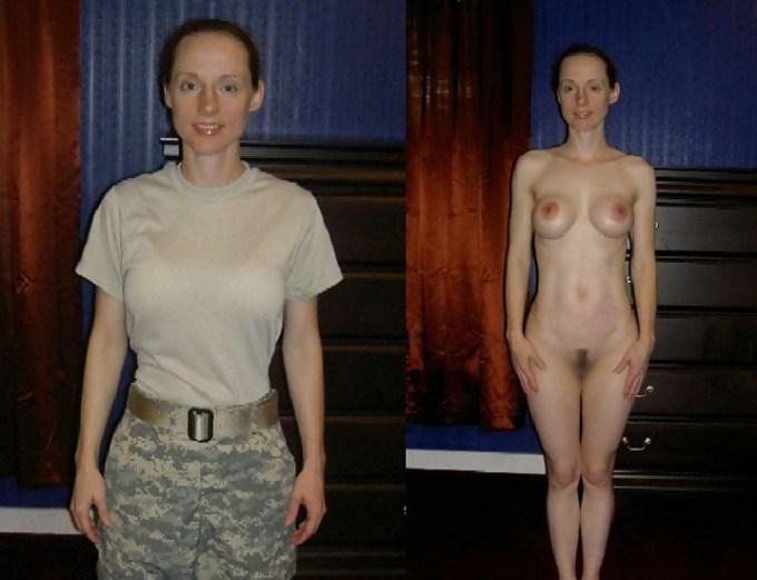 女兵士の着衣とヌードを比較してしまいました。