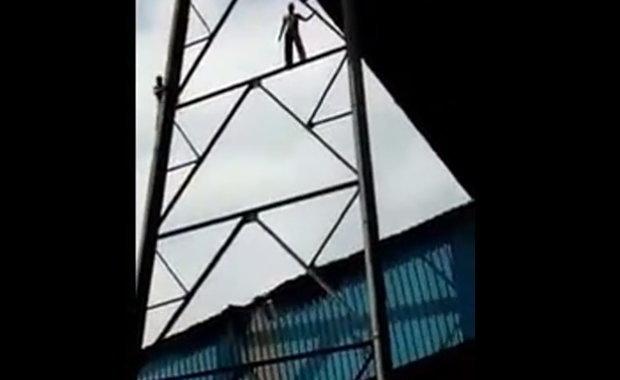 鉄塔から飛び降りた男は即死だったようです。