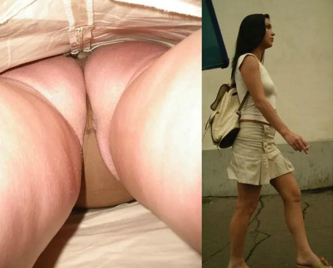 着衣のままの一般外国人女性のパンツの中身をご覧下さい。